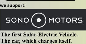 we support: The first Solar-Electric Vehicle.  The car, which charges itself.